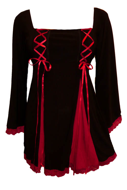 Plus Size Gemini Princess Black and Red Gothic Corset Top
