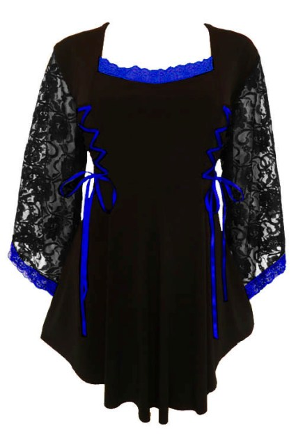 Plus Size Anastasia Top in Black and Royal Blue