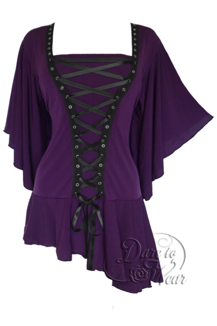 Plus Size Gothic Purple Alchemy Corset Stud Top in Amethyst