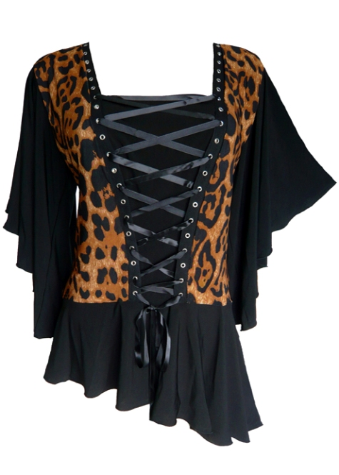 Plus Size Black & Leopard Alchemy Corset Stud Top in Leopard