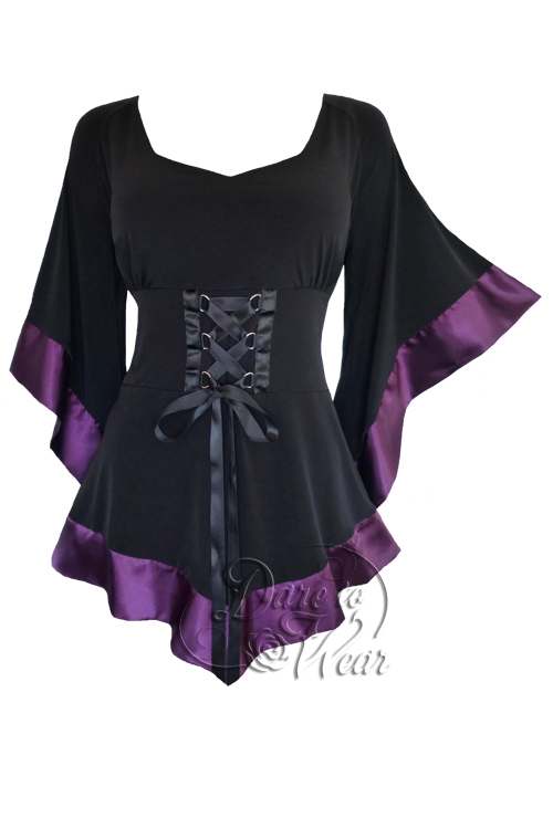 Plus Size Black Gothic Treasure Corset Top in Purple Plum