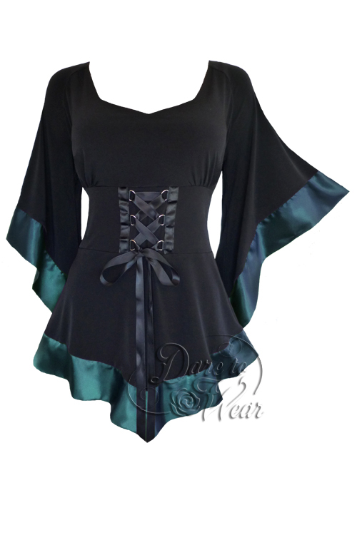 Plus Size Black Gothic Treasure Corset Top in Teal Blue