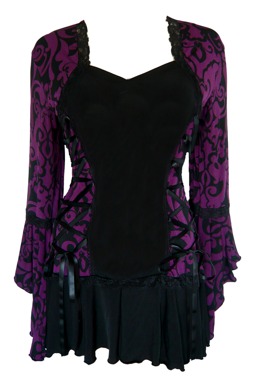 Plus Size Blackberry Brocade Bolero Lacing Corset Top
