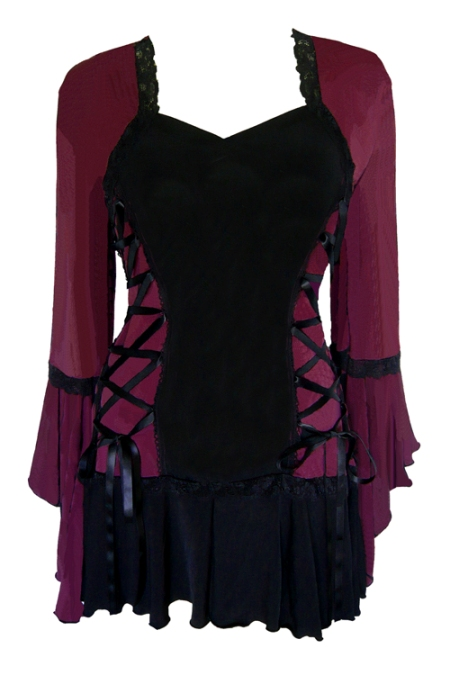 Plus Size Burgundy and Black Bolero Lacing Corset Top