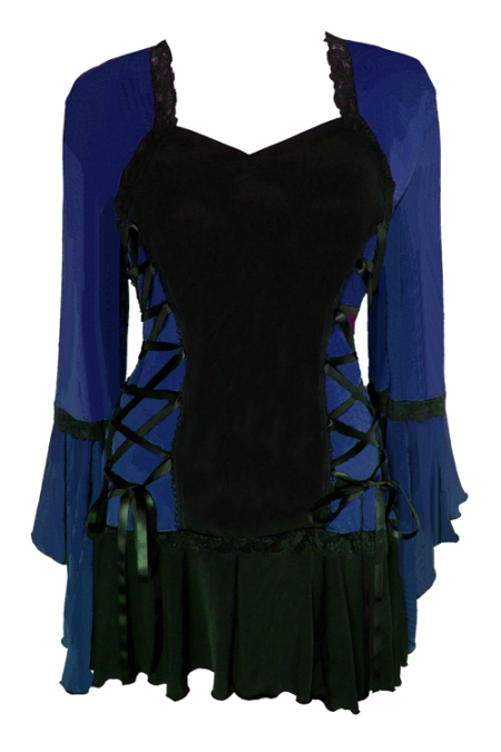 Plus Size Midnight Blue and Black Bolero Lacing Corset Top