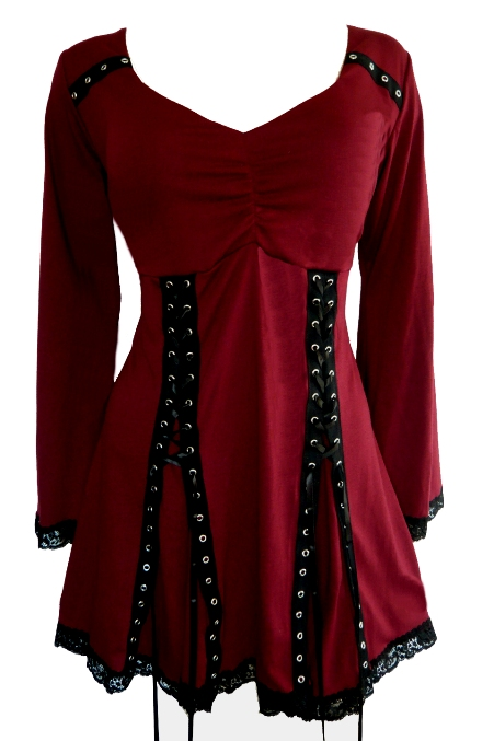 Plus Size Electra Corset Top in Garnet Red