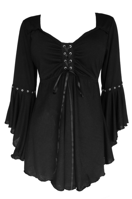 Plus Size Gothic Ophelia Corset Top in Black