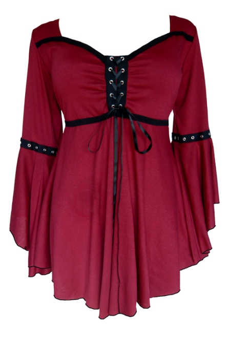Plus Size Gothic Ophelia Corset Top in Burgundy