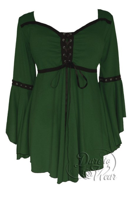Plus Size Gothic Ophelia Corset Top in Green Envy