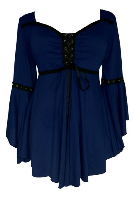 Plus Size Gothic Ophelia Corset Top in Midnight Blue