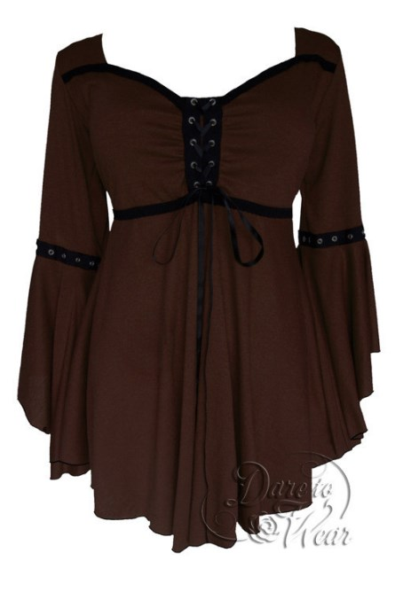 Plus Size Gothic Ophelia Corset Top in Walnut