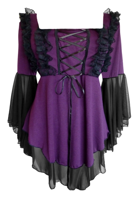 Plus Size Purple and Black Gothic Fairy Tale Corset Top