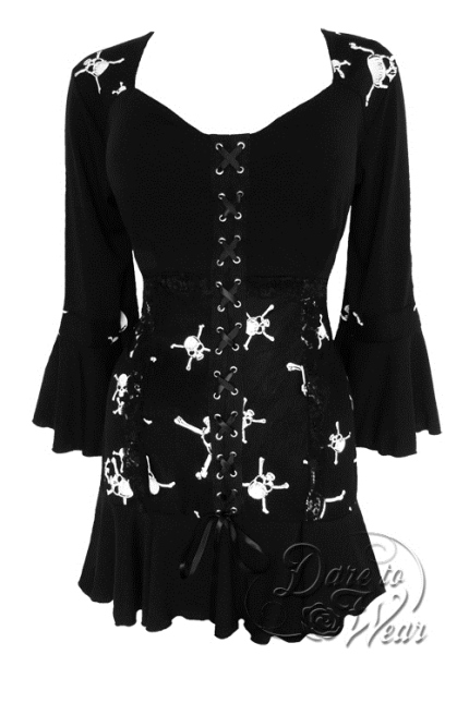 Jr. Plus Size Gothic Cabaret Corset Top in Skull Print Jolly Rodger