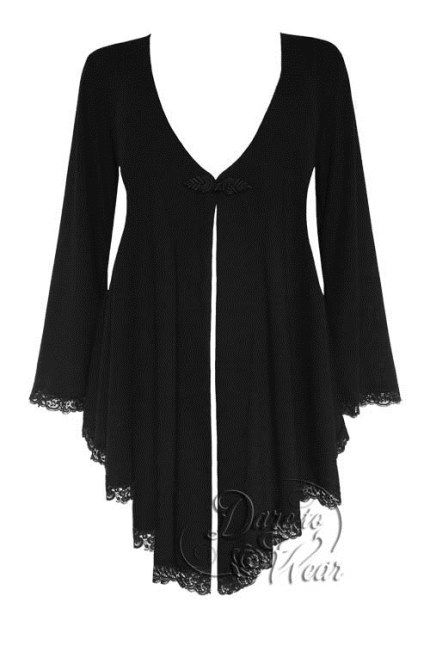 Plus Size Embrace Corset Sweater Duster Jacket in Black Magic