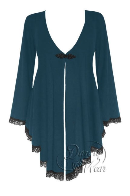 Plus Size Embrace Corset Sweater Duster Jacket in Dark Teal