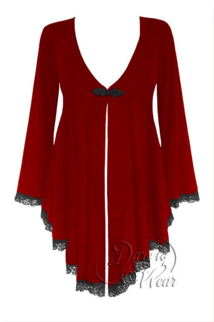 Plus Size Embrace Corset Sweater Duster Jacket in Ruby Rune
