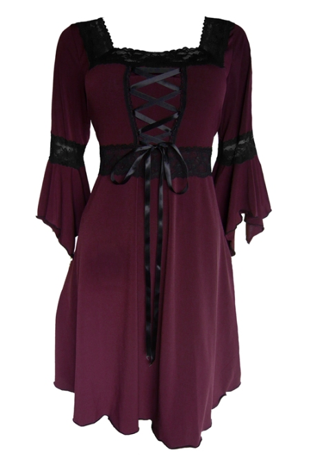 Plus Size Black and Burgundy Gothic Renaissance Corset Dress