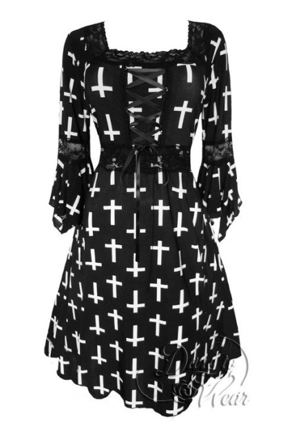 Plus Size Black and White Cross Joan of Arc Gothic Renaissance Corset Dress