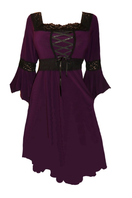 Plus Size Black And Purple Gothic Renaissance Corset Dress Fd01p