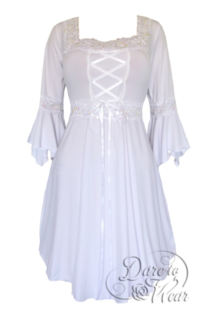 Plus Size White Icing Gothic Renaissance Corset Dress