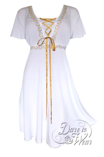 Plus Size White Angel Corset Dress in White and Gold