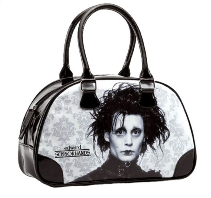 Rock Rebel Black and White Damask Edward Scissorhands Purse