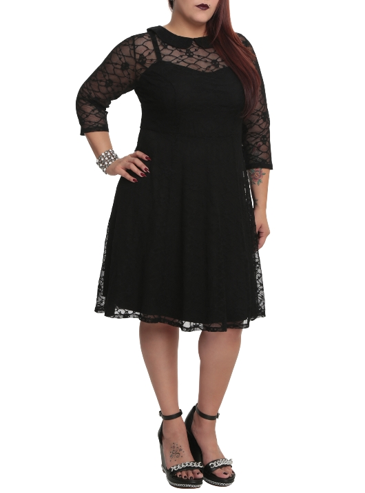 Tripp Plus Size Gothic Black Skull Lace Overlay Dress