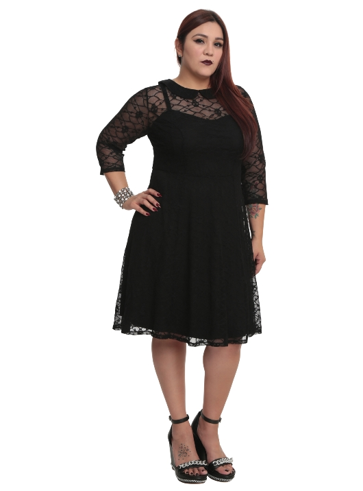 Tripp Plus Size Gothic Black Skull Lace Overlay Dress Fs1724x