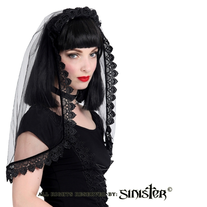 Sinister Gothic Black Rose Lace Wedding Veil w Velvet Tie