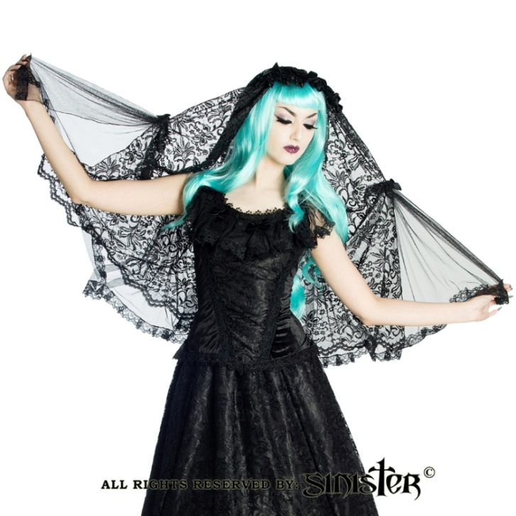 Sinister Gothic Black Multilayer Sicilian Lace & Roses Mourning Wedding Veil w Bows