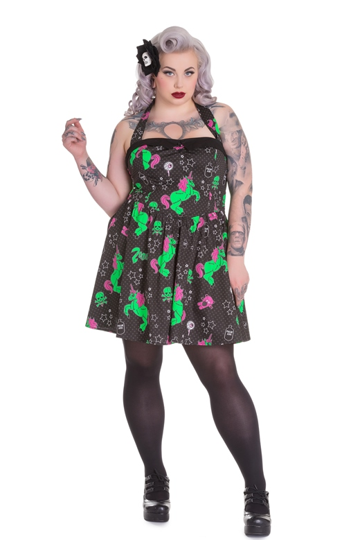 Hell Bunny Plus Size Gothic Black I Heart Zombie Unicorn Mini Dress