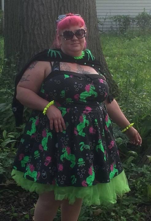 2c89dbd7609b4 Hell Bunny Plus Size Gothic Black I Heart Zombie Unicorn Mini Dress ...