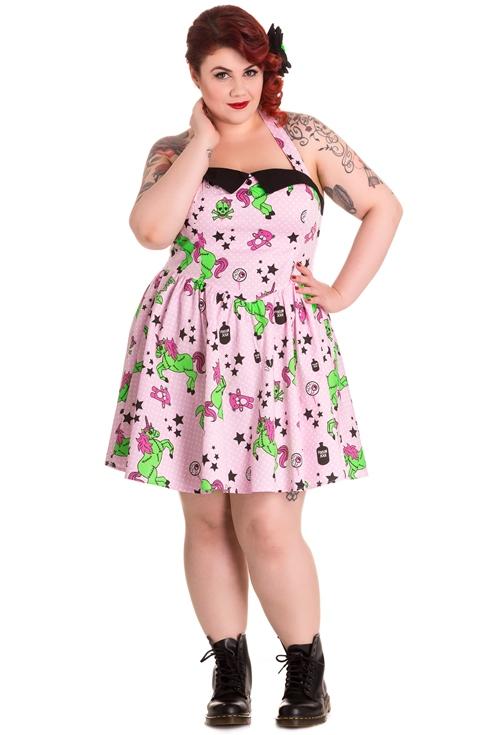 Hell Bunny Plus Size Gothic Pink I Heart Zombie Unicorn Mini Dress