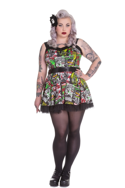 Hell Bunny Plus Size B-Movie Monster Horror Tulle Mini Dress *NEW*