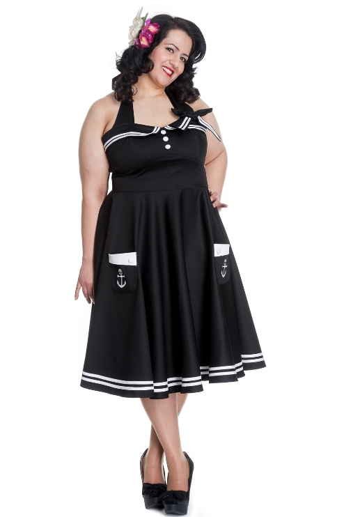 Hell Bunny Plus Size Gothic Black Motley 50's Rockabilly Skull Dress