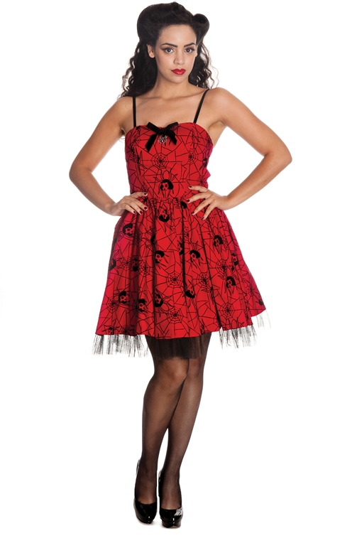Hell Bunny Gothic Red & Black Rockabilly Spider Tulle Mary Jane Mini Dress
