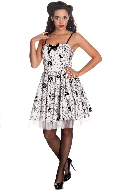 Hell Bunny Gothic White & Black Rockabilly Spider Tulle Mary Jane Mini Dress