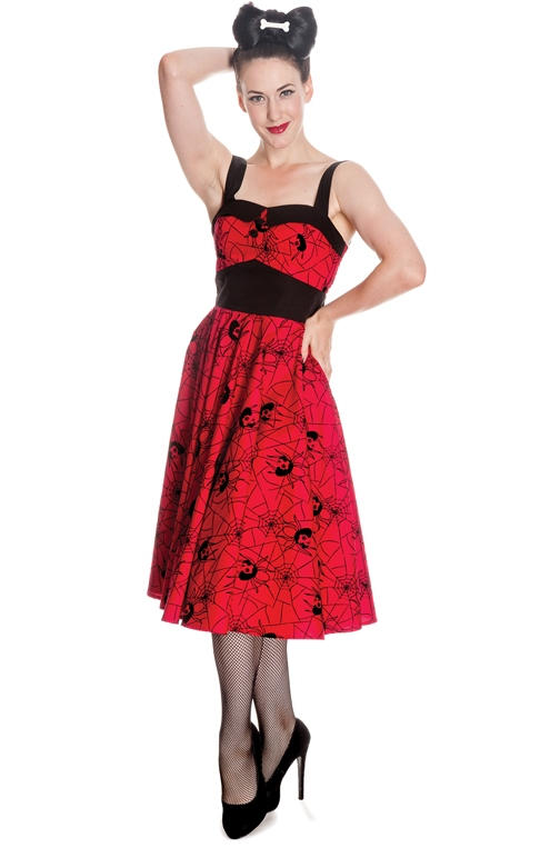 Hell Bunny Red & Black Gothic Black Widow Spider Dress
