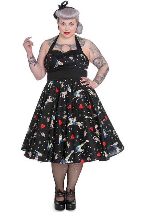 Hell Bunny Plus Size Gothic Black Zombie Forever Dead Rockabilly Dress