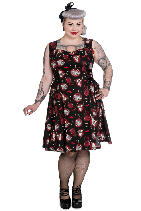 Hell Bunny Plus Size Wolf Dream Skull Aiyana Lace Dress