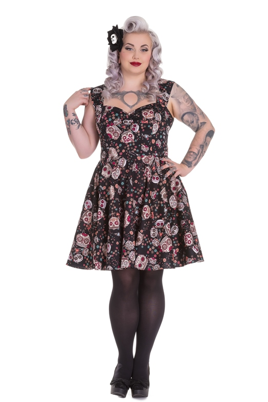 Hell Bunny Plus Size Gothic Black Skull Love Idaho Dress