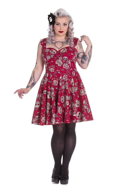 Hell Bunny Plus Size Gothic Red Skull Love Idaho Dress