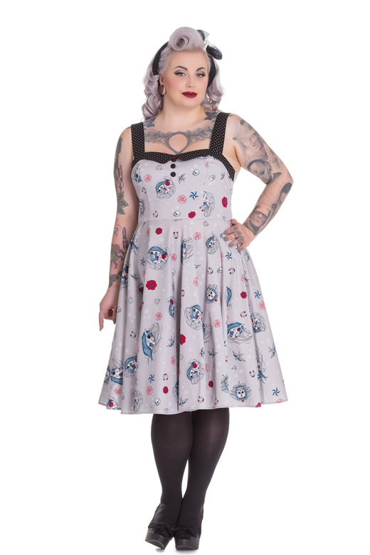Hell Bunny Plus Size Rockabilly Day of the Dead Unicorn Skull Zoey 50's Dress