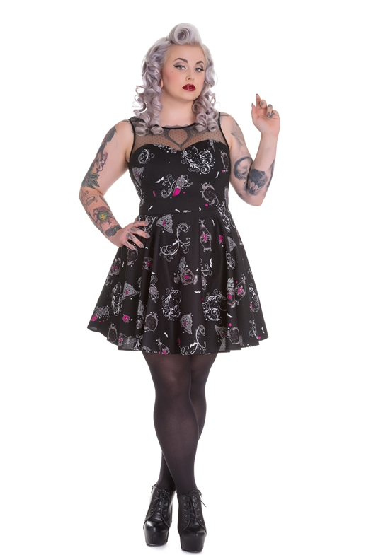 Hell Bunny Plus Size Gothic Perfume Skull Bat Kalonice Mini Dress