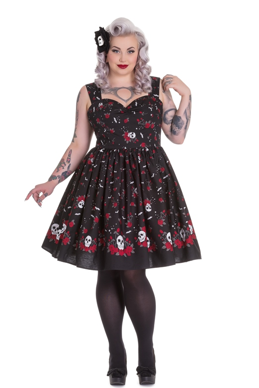 Hell Bunny Plus Size Black Gothic Skull Bat Star Roses Aconite Dress