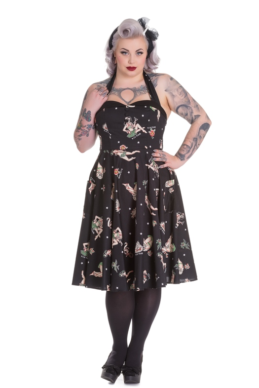 Hell Bunny Plus Size 50's Rockabilly Halter Hula Skull Lucinda Dress