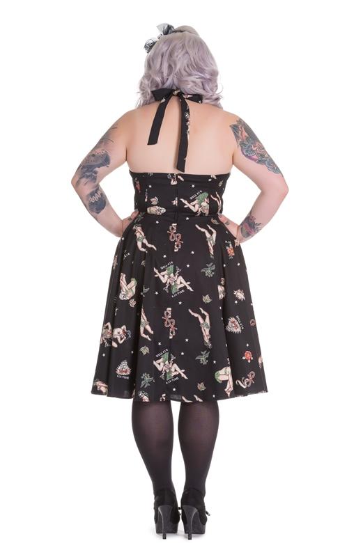 Hell Bunny Plus Size 50s Rockabilly Halter Hula Skull Lucinda Dress