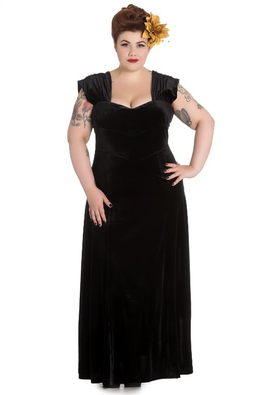 Hell Bunny Plus Size Gothic Long Black Velvet Geraldine Dress