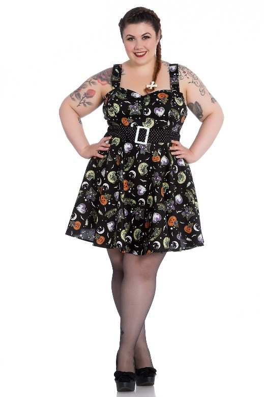 Hell Bunny Plus Size Gothic Halloween Black Cat Salem Witch Mini Dress