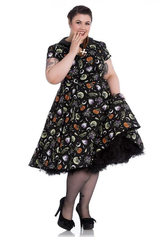 Hell Bunny Plus Size Gothic Halloween Black Cat Salem Witch 50s